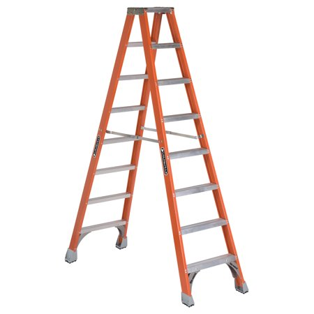 Louisville Ladder FM1508 8 ft. Fiberglass Twin Step Ladder, Type IA, 300 lbs Load Capacity