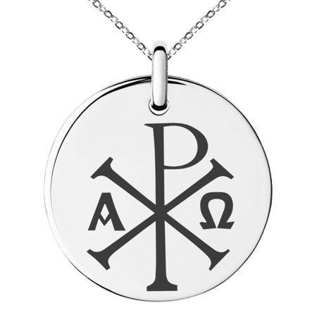 Stainless steel chi rho alpha omega symbol engraved small stainless steel chi rho alpha omega symbol engraved small medallion circle charm pendant necklace mozeypictures Gallery