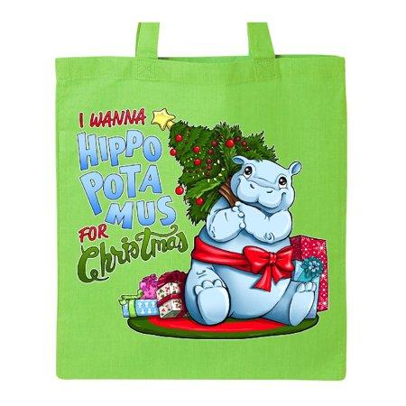 I Wanna Hippopotamus for Christmas- cute hippo Tote Bag](Christmas Tote Bags)