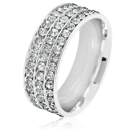 Chocolate Stainless Steel Ring - Triple Eternity Crystal Stainless Steel Comfort Fit Ring (8mm)