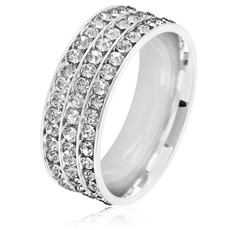 Triple Eternity Crystal Stainless Steel Comfort Fit Ring (8mm)