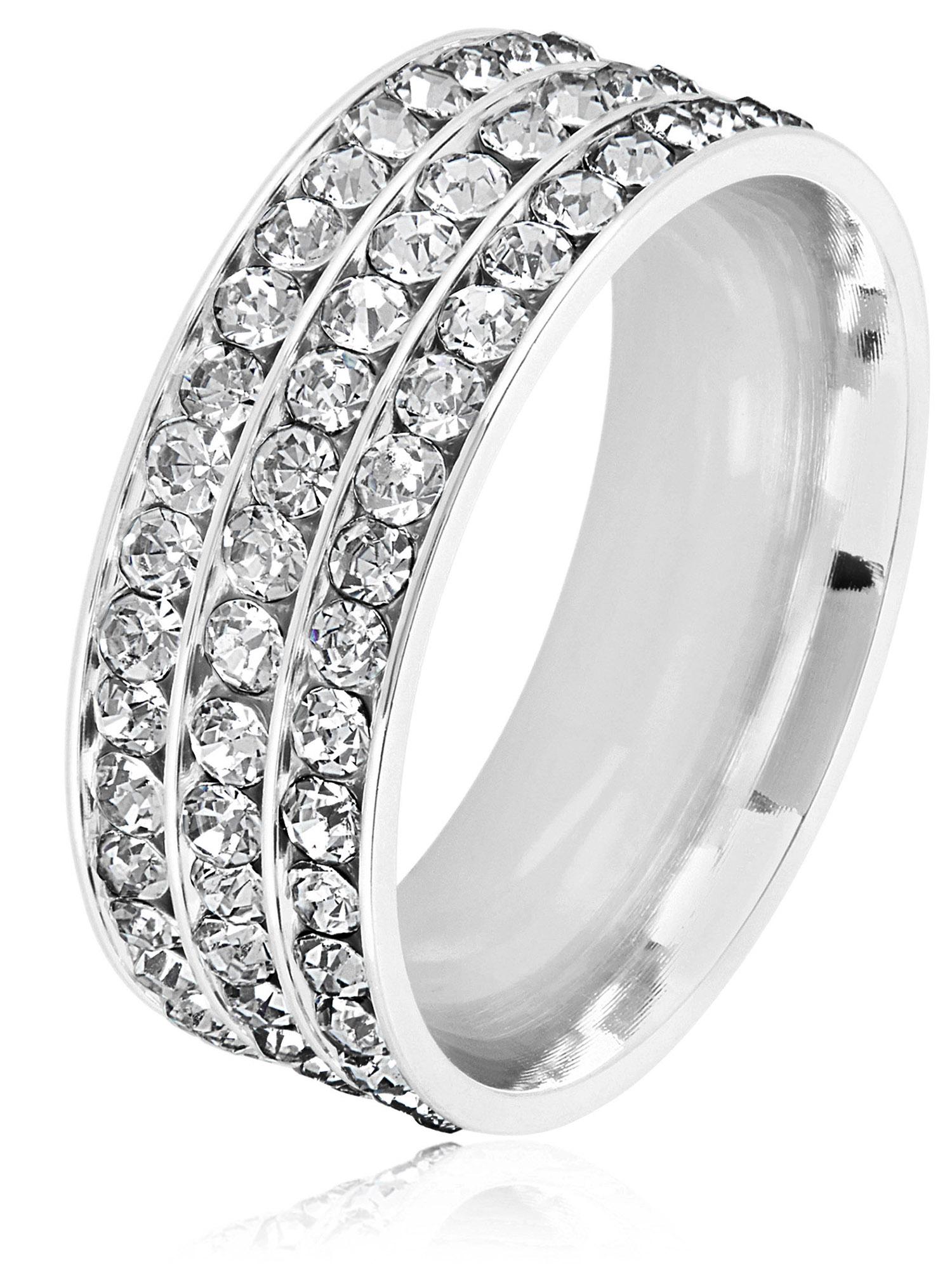 Triple Eternity Crystal Stainless Steel Comfort Fit Ring (8mm)