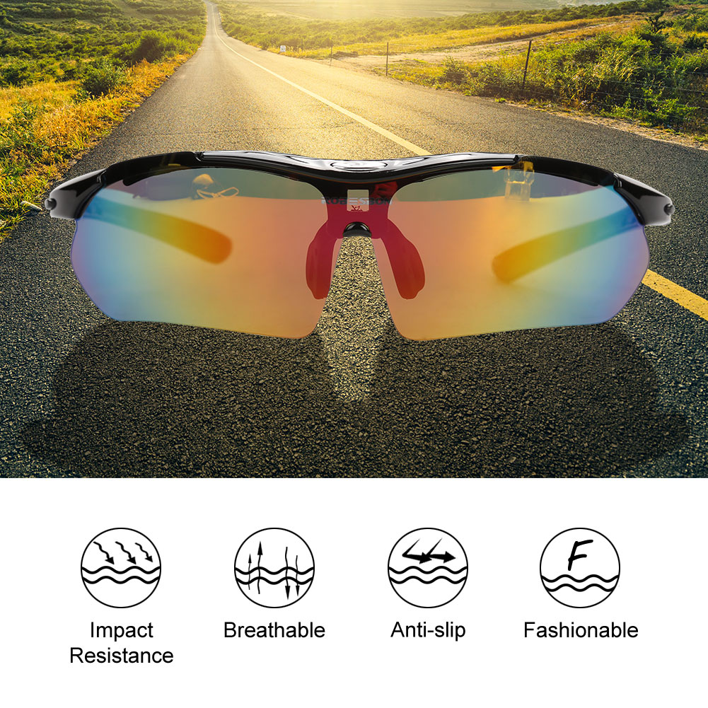 WALFRONT Bicycle Bike Glasses Sunglasses 5 Lenses Accessories for Outdoor Sports Cycling Riding, Bike Glasses,Cycling Glasses