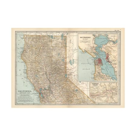 Map of California, Northern Part. United States. Inset Maps of San Francisco and Yosemite Valley Print Wall Art By Encyclopaedia (Best Way To Visit Yosemite From San Francisco)