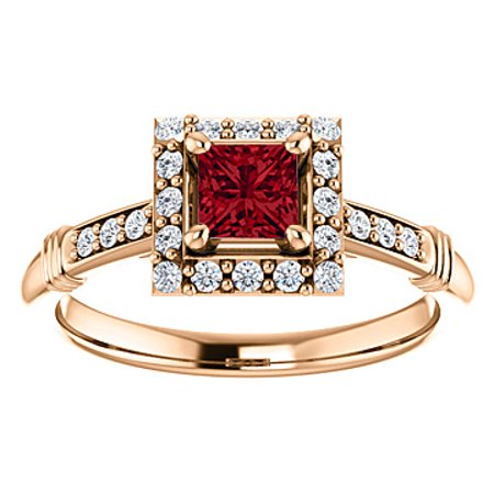 .75 ct tw CZ Accented Square Ruby Halo Ring Rose Gold - image 8 of 8
