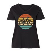 Bicycle Vintage Cyclist Sunset Women's Plus Size V-Neck