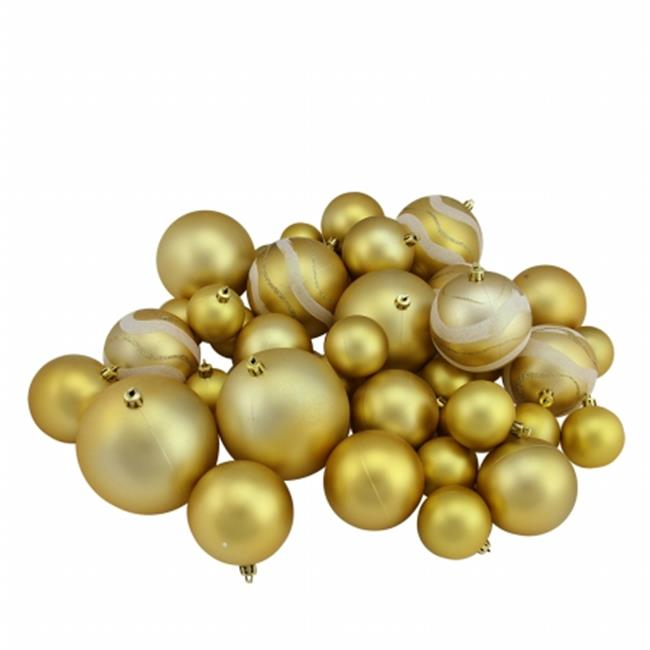 Northlight Seasonal 31756974 Gold Glamour Matte and Glitter Shatterproof Christmas Ball Ornaments