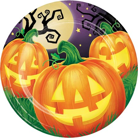 Pack of 96 Halloween Pumpkin Patch Disposable Round Party Luncheon Plate - Halloween Pumpkin Patch