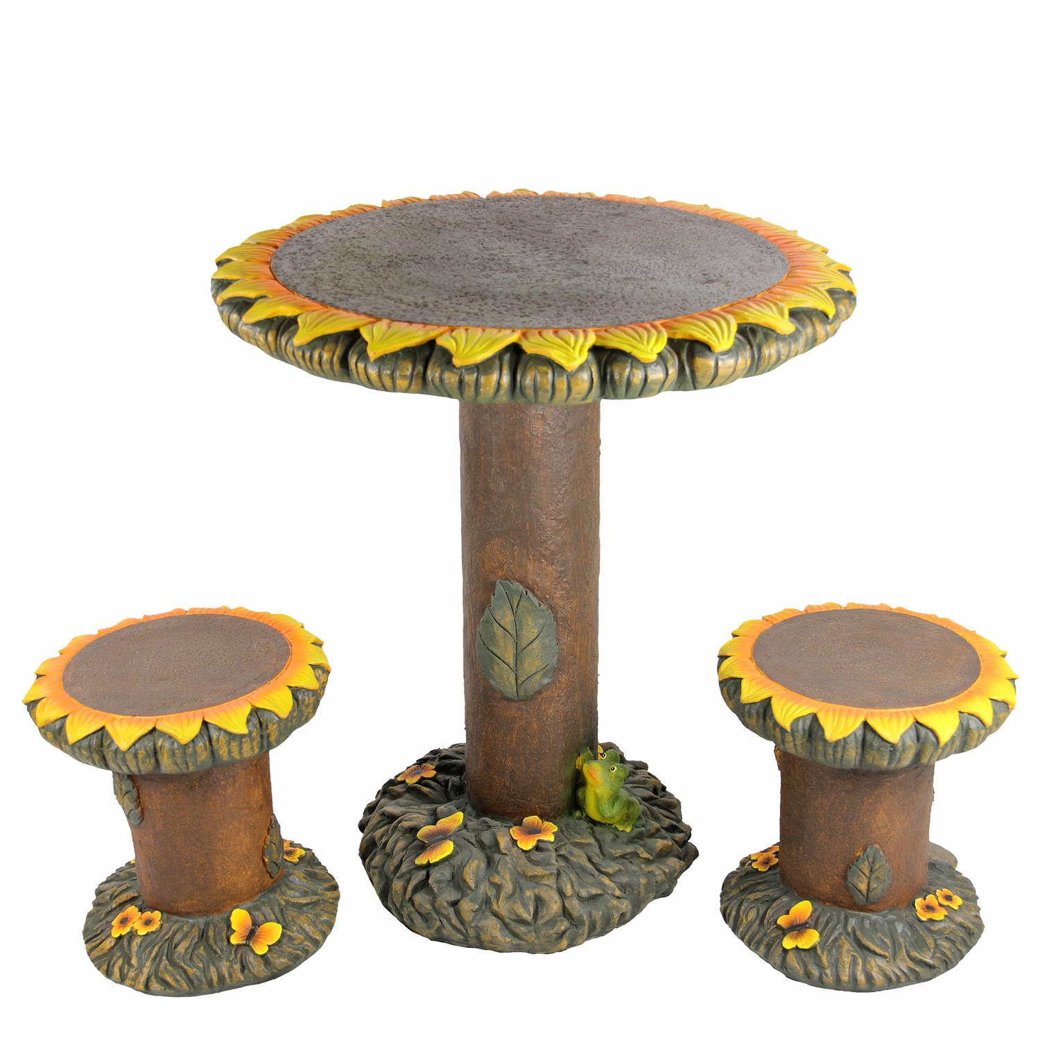 3-Piece Sunflower Table and Chair Novelty Garden Patio Furniture Set