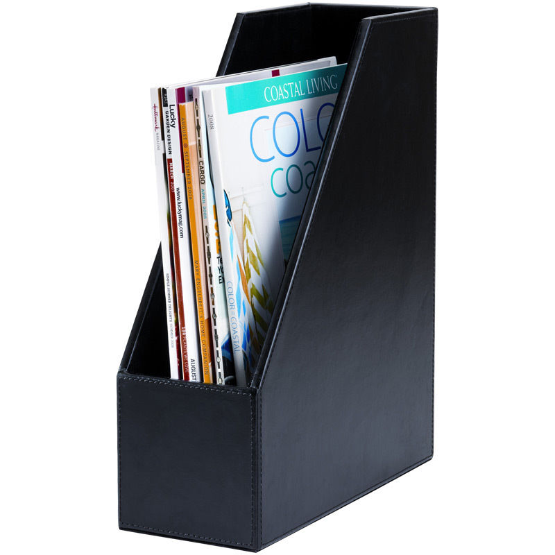 "Click here to buy Dacasso A1482 Standard 8.5"" x 11"" Size Magazine Rack Econo-Line Black Leather."