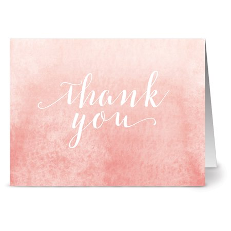 Blank Thank You Cards (24 Thank You Note Cards - All Watercolor Thank You - Blank Cards - Gray Envelopes Included)
