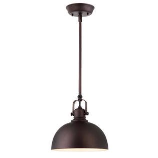 Kitchen and Bar 1 Light Mini Pendant with Oil Rubbed Bronze Metal Shade Bronze Three Light Mini Pendant