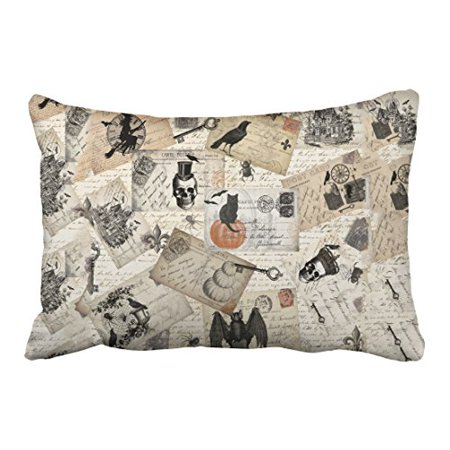 WinHome Modern Vintage Halloween Skull Pumpkin Postcards Elegant Style Polyester 20 x 30 Inch Rectangle Throw Pillow Covers With Hidden Zipper Home Sofa Cushion Decorative Pillowcases (Pumpkin Lamp Post Cover)