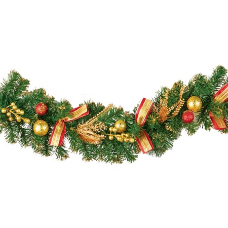 Evergreen Holiday Glitter Garland with Red & Gold Accents - Seasonal Home Decoration for Mantle, Doorway, or Stairway