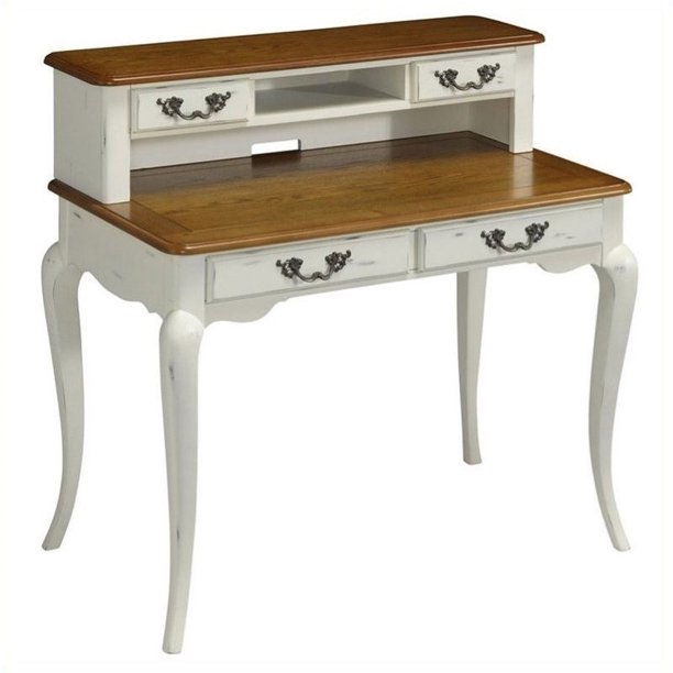 Bowery Hill Student Desk and Hutch in Oak and Rubbed White ...