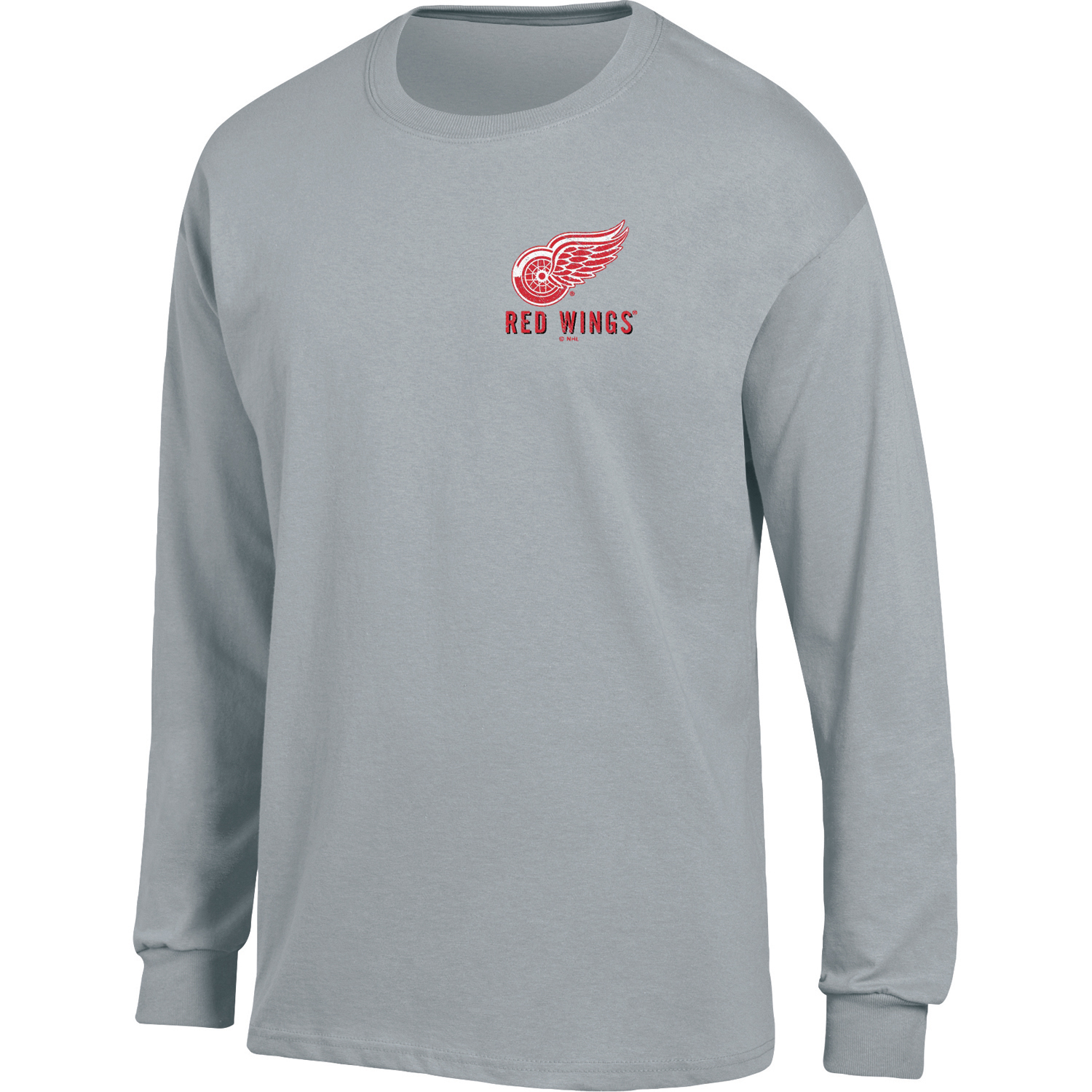 Men's Heathered Gray Detroit Red Wings Back Hit Long Sleeve T-Shirt