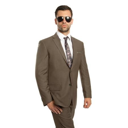 Mens Suit Two Piece Notch Lapel Platinum Striped Wool Suits