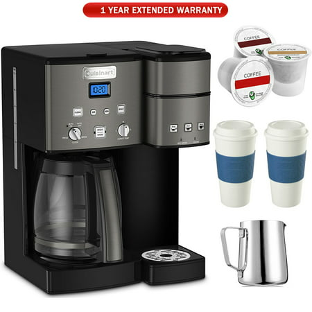 Electric With Timer Coffee Maker - Cuisinart SS-15 12-Cup Coffee Maker and Single-Serve Brewer (Black), Stainless with K Cups, Carafe, To Go Cups and Extended Warranty