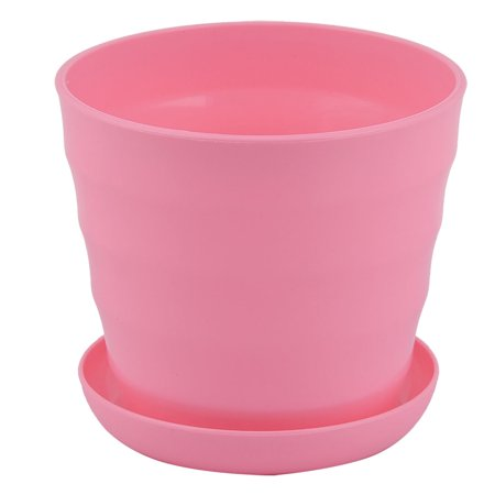 Pink Flower Pot - Parterre Farm Home Plastic Round Design Flower Cactus Planter Pot Tray Pink