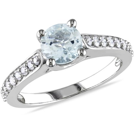 3/4 Carat T.G.W. Aquamarine and 1/4 Carat T.W. Diamond 10kt White Gold Cocktail Ring