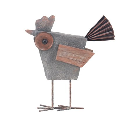 Decmode Farmhouse 20 X 15 Inch Distressed Gray Polystone and Metal Rooster (Metal Frog Sculpture)