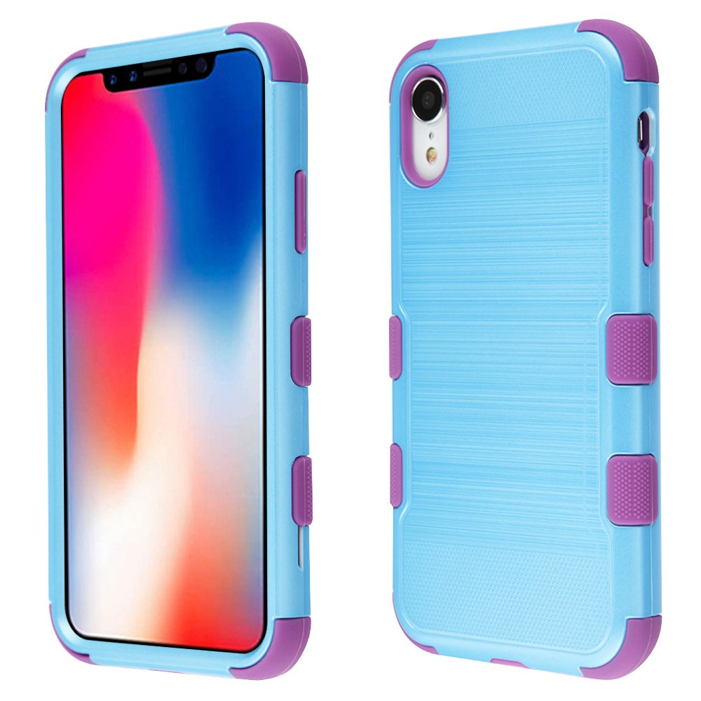 TUFF Hybrid (Military Grade Certified) Brushed Finish Case for Apple iPhone XR - Sky Blue/Purple