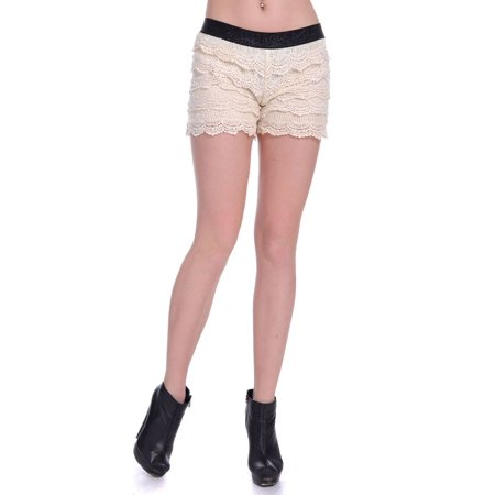 S/M Fit Beige All Over Floral Crochet Lace Overlay Scallop Edge Shorts