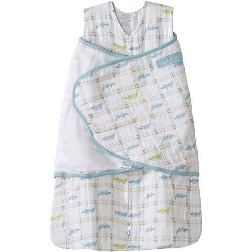 HALO SleepSack Swaddle Wearable Blanket, Cotton Muslin, Blue
