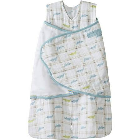 HALO SleepSack Swaddle, 100% Cotton Muslin, Blue Gator Plaid, Newborn (Sleep Alligator)
