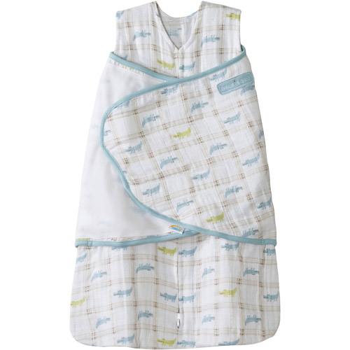 HALO SleepSack Swaddle Wearable Blanket, Cotton Muslin, Blue