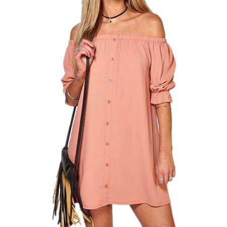 e27ee48619d7 Dymade - Women s Off Shoulder Short Lantern Sleeve Solid Casual Shift Dress  - Walmart.com