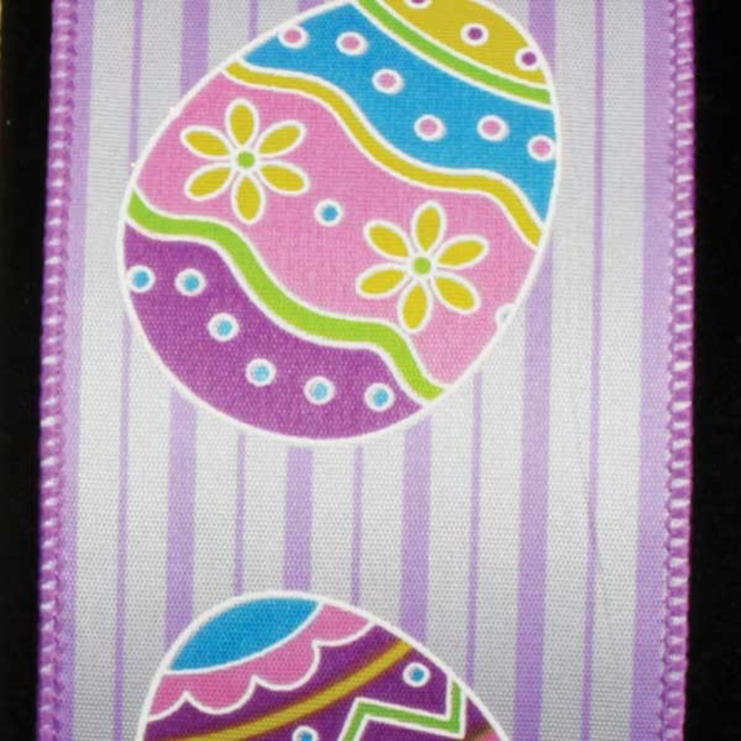"Egg Hunt in Purple Stripes Easter Wired Craft Ribbon 2.5"" x 40 Yards"