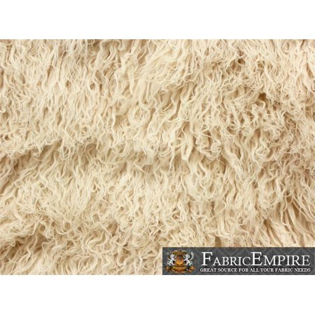 - Faux Fur Long Pile Curly Fabric ALPACA LATTE CREAM / 60