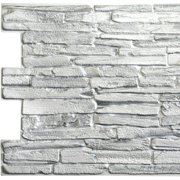 White Faux Flagstone, 3.2 ft x 1.6 ft, PVC 3D Wall Panel, Interior Design Wall Paneling Decor Commercial and Residential Application, 5.3 sq. feet