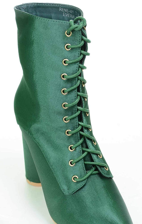 Green Lace Up Pointy Toe Satin Vegan