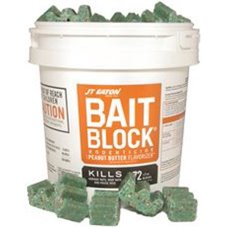 Jt Eaton Bait Block Rodenticide With Peanut Butter Flavorizer, 9 Lb. Pail With 72, 2 Oz. Blocks