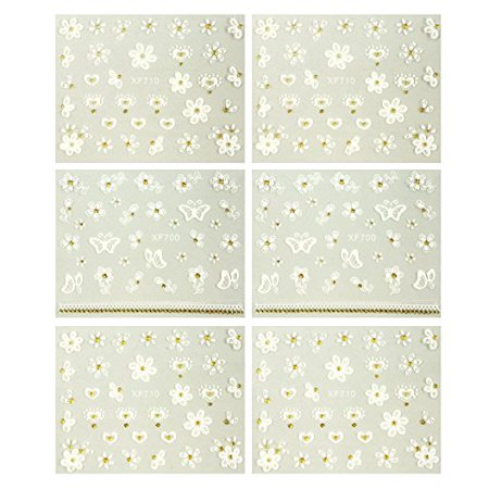 Wrapables® Fingernail Stickers Nail Art Nail Stickers Self-Adhesive Nail Stickers 3D Nail Decals - Flowers, Hearts & Butterflies (3 designs/6 sheets)](Halloween Fingernails Designs)