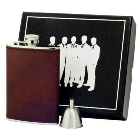 Visol VSET60-1279 Kenton Leatherette Groomsmen Flask Gift Set, 8-Ounce, -