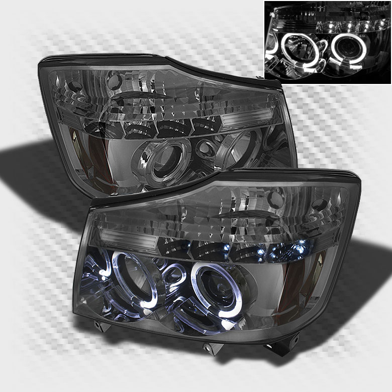 Smoked 2004-2015 Titan 2004-2007 Armada LED Halo Projector Headlights Light Set Pair L+R 2005 2006 2007 2008 2009 2010