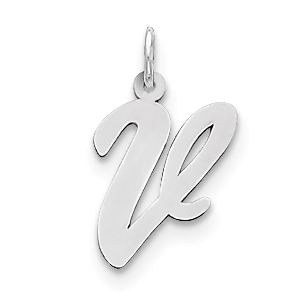 Sterling Silver Large Script Initial V Charm (0.8in long x 0.5in wide)