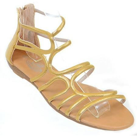 6c8f29f91 Fourever Funky - Gladiator Metallic Back Zip Strappy Gladiator Womens Wedge  Sandals (Gold, 6 B(M) US) - Walmart.com