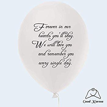 I Love You Helium Balloons (30pc White Remembrance Memorial Funeral Balloons Biodegradable Helium Quality for Balloon Releases 'Forever in Our Hearts You'll Stay, We Will Love...' by Good)