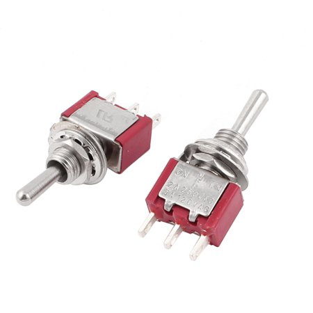 2 Pcs SPDT ON/Off/ON 6mm Thread Toggle Switch 2 Way Return 3 (Threaded Toggle)