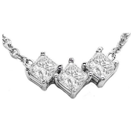 Harry Chad Enterprises 41172 1.5 Carat Prong Set Princess Diamond Three Stone Pendant Necklace - image 1 of 1