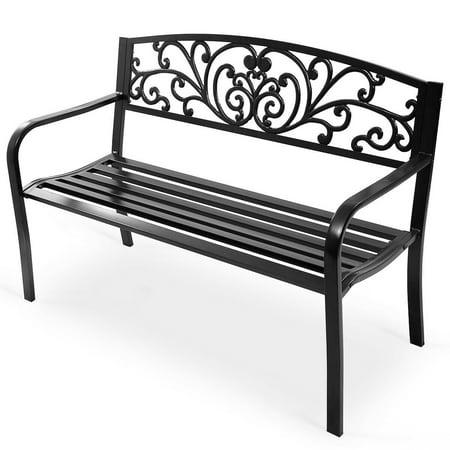 Costway 50'' Patio Park Garden Bench Porch Chair Steel Frame Cast Iron Backrest ()