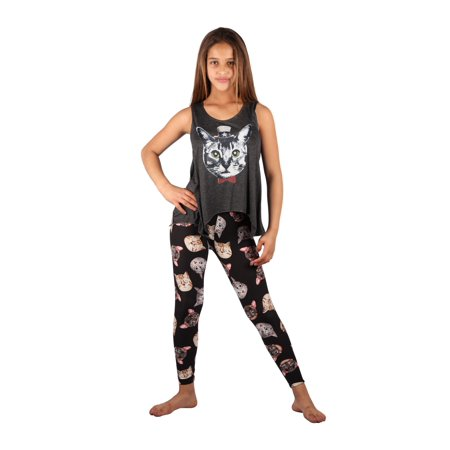 Summer Legging Outfits (Lori & Jane Girls Charcoal Black Cats Summer Leggings Outfit)