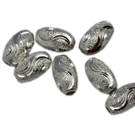 7x12mm Silver Frosted Metal Oval Bead Filigree Bead (50 Piece)
