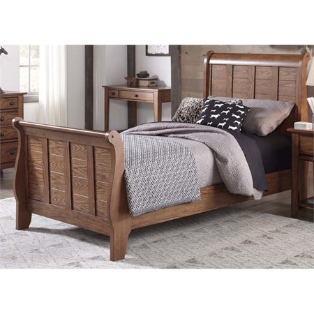 - Bowery Hill Twin Sleigh Bed in Aged Oak