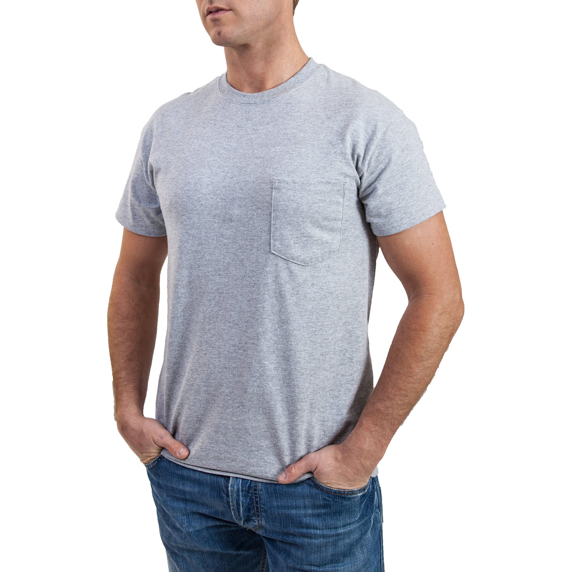 Men's Black and Grey Pocket Crew T-Shirt, 2-Pack