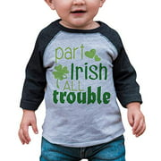 7 ate 9 Apparel Boy's St. Patrick's Day Vintage Baseball Tee Small Grey and Green